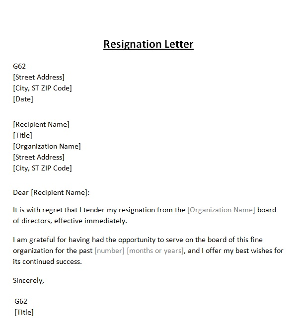 resignation letter from board template sample