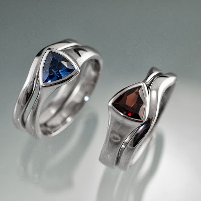 Tetra Bridal Sets with Trillion Garnet and Lab Sapphire