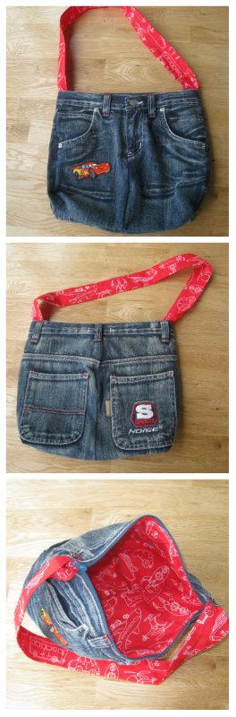 Schooltas van jeans gemaakt