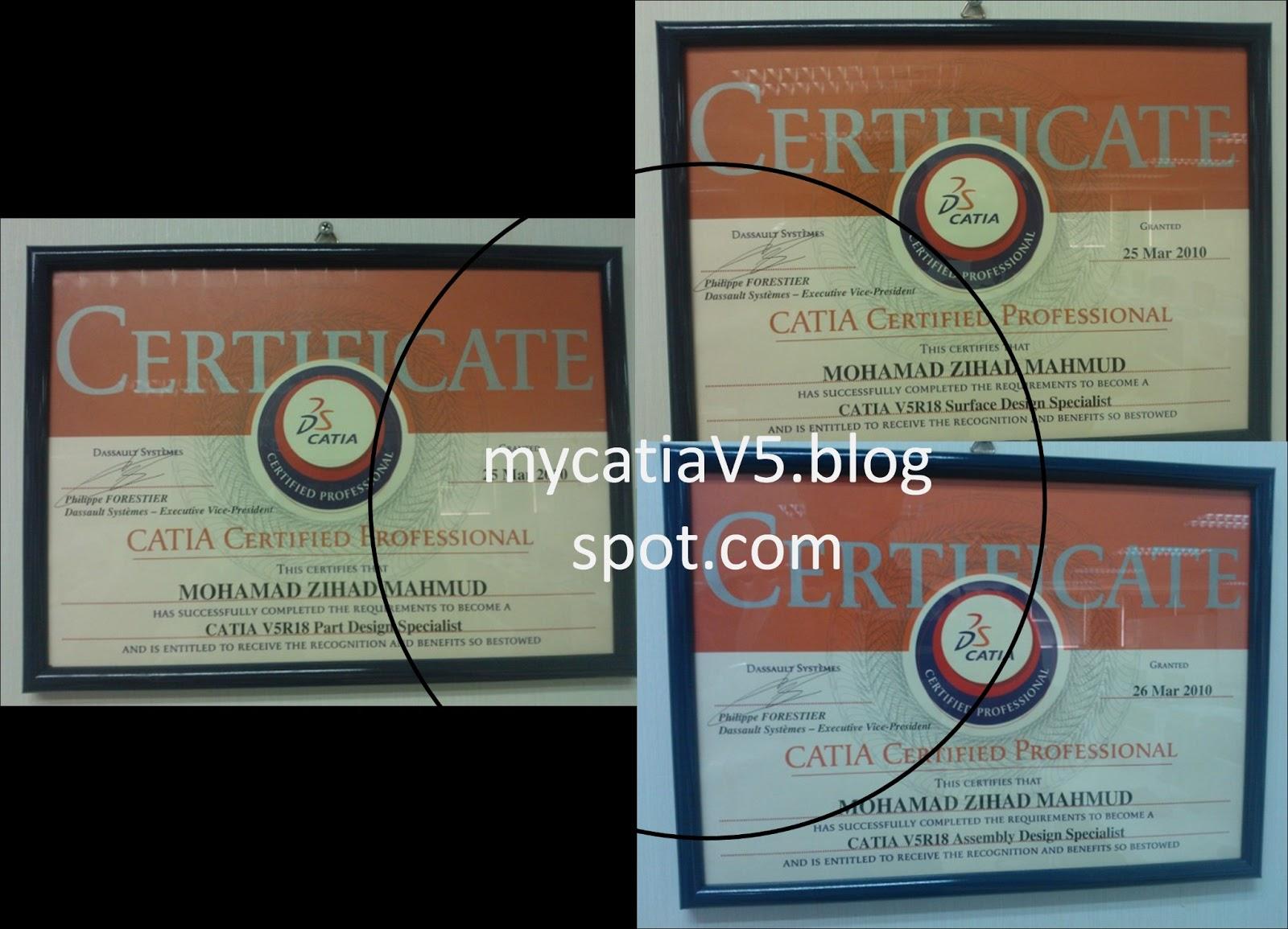 My Catia V5 Catia Specialist Certificate