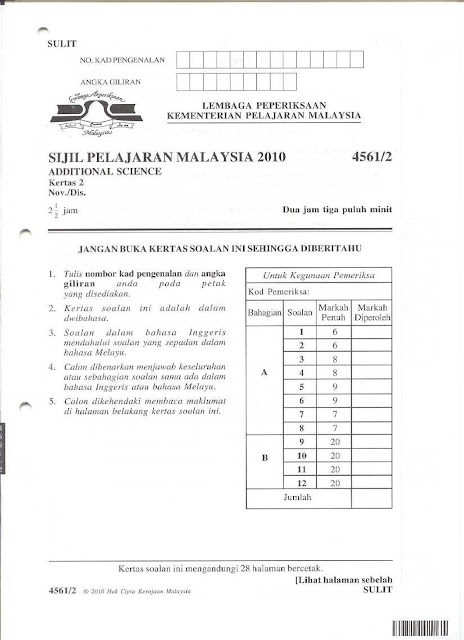 Spm Past Year Question Additional Science Paper Sains