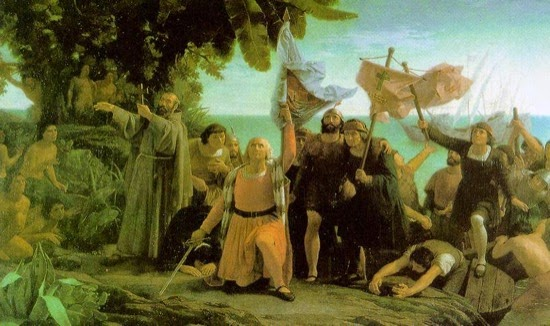 Primer desembarco de Cristóbal Colón en América, por Dióscoro Puebla