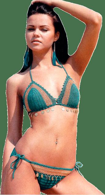 купальник цвета морской волны с бежевыми вставками, украшенный монистами