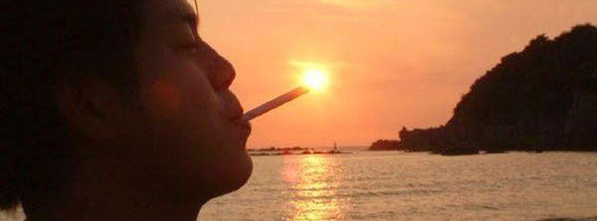 Couverture facebook fumeur avec soleil