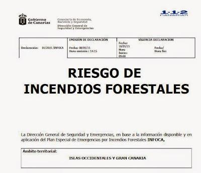 alerta incendios forestales Canarias 10 mayo