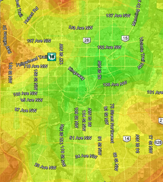 Edmonton Transit heat map based on Rexall Place