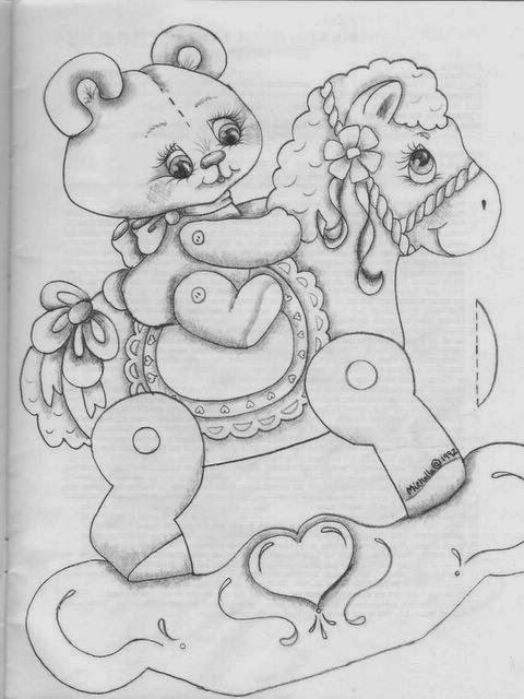 Desenhos de Ursinhos - Andando de cavalinho - Desenhos para colorir