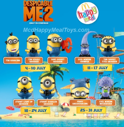 Descpicable me 2 toy happy meal mc donald free Malaysia Minion craze