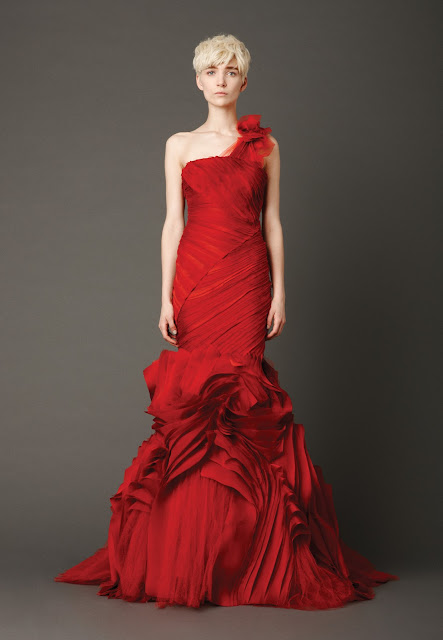 Red Mermaid One Shoulder Wedding Dress 2013 from Vera Wang