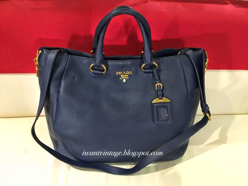 prada black leather shoulder bag - Prada BN2522 Vitello Daino Leather Bag-Bluette 1.jpg