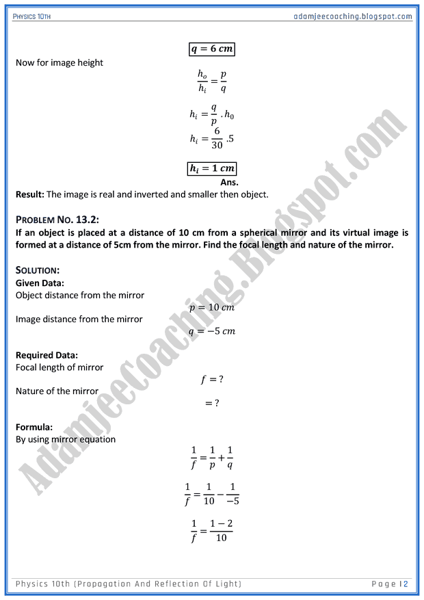 propagation-and-reflection-of-light-solved-numericals-physics-10th