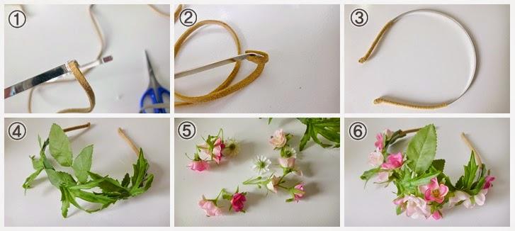 Curious and catcat diy flower head band - Como hacer adornos para el pelo ...