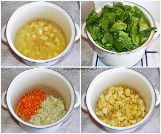 preparare ciorba taraneasca de casa cu spanac si oua intregi, preparare supe ciorbe de legume cu oua intregi, retete culinare, retete de mancare, mancaruri cu legume,