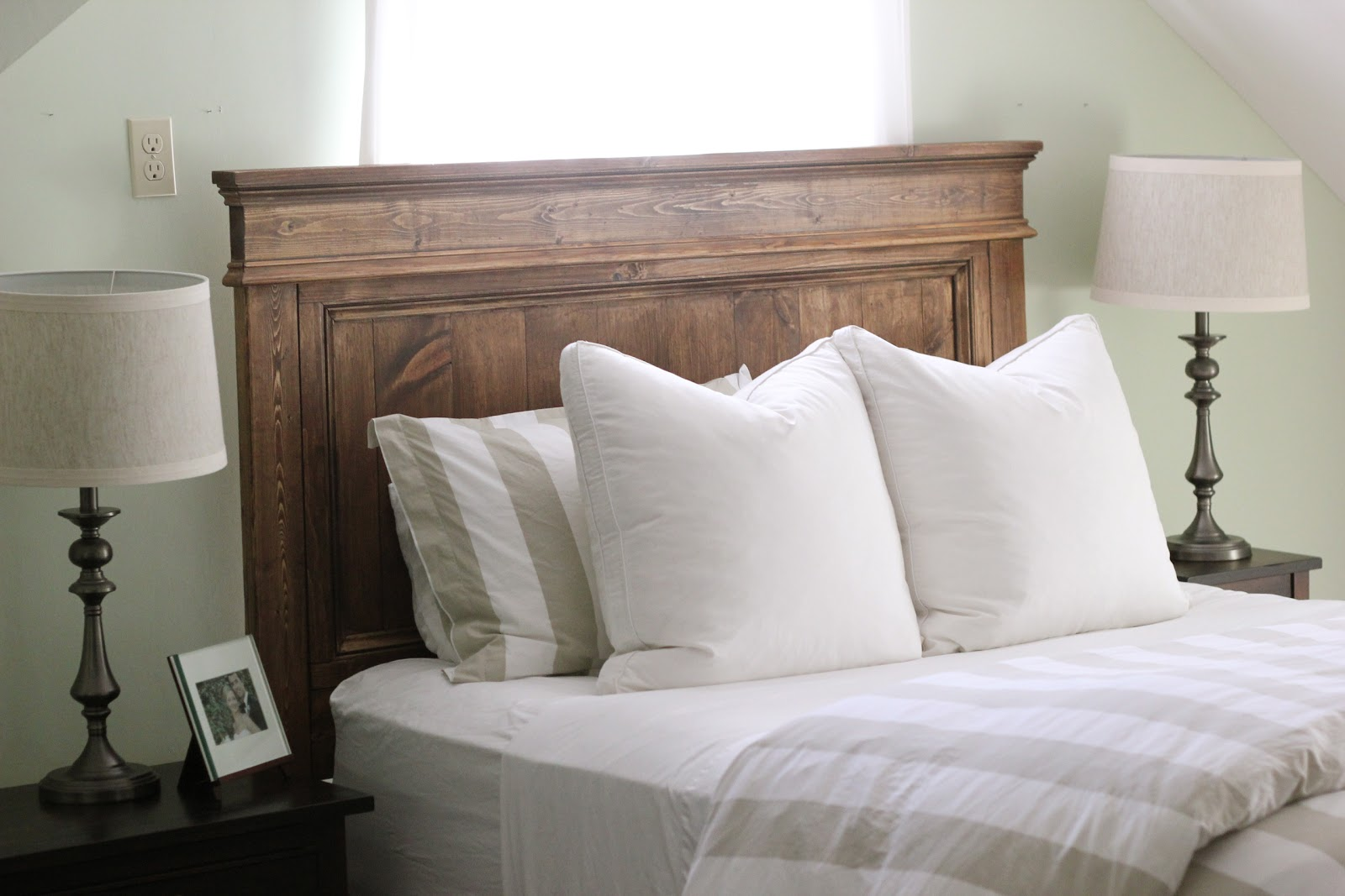 Jenny steffens hobick we built a bed diy wooden headboard for Simple bed diy
