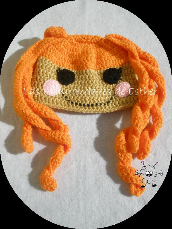 gorro de lana tejido a crochet cabeza de muñeca lalaloopsy