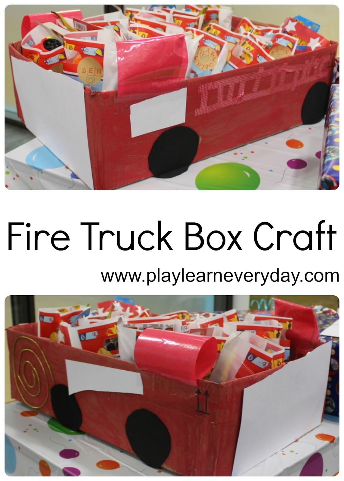 Fire Truck Box Craft - Play and Learn Every Day