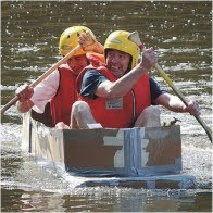 stag group in a cardboard boat