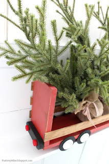 diy truck shelf with trees