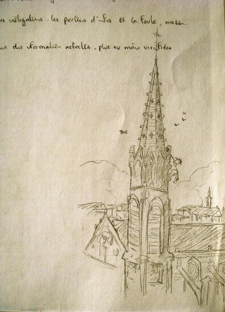 cathédrale Nîmes église dessin