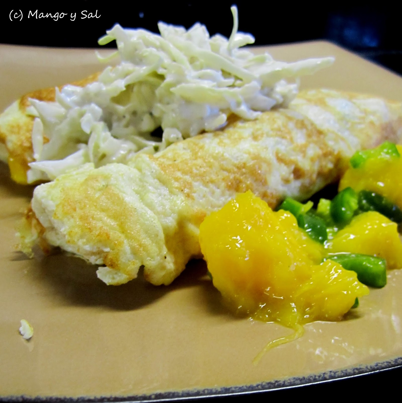 Chicken & Mango Crepes with Lime Cole Slaw