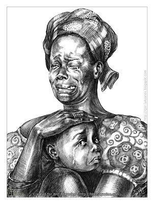 Portrait d'une femme africaine qui pleure avec son enfant malheureux