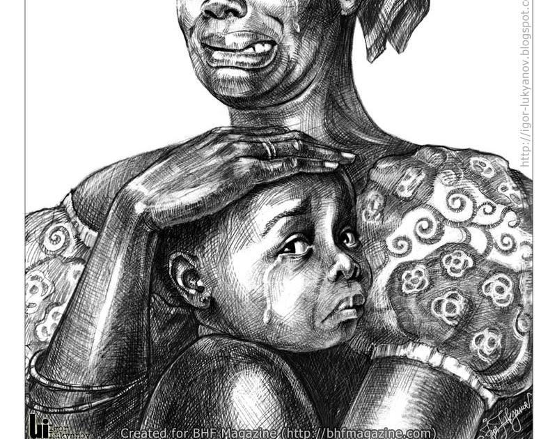 Dessin De Femme Africaine portrait d'une femme africaine avec un enfant en pleurs