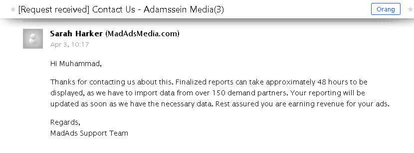 Bukti E-mail dari MadAdsMedia