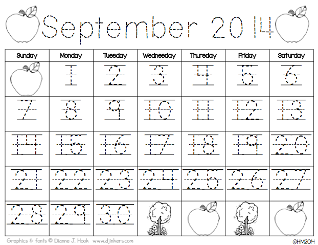 Calendar For Kindergarten Worksheets : Printable kindergarten calendar worksheets