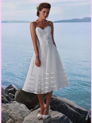 White Short Sweetheart Organza Beach Wedding Dress