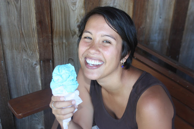 Kristina eating icecream while smiling