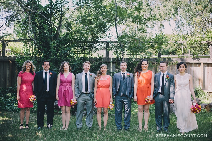 coral and tangerine wedding party