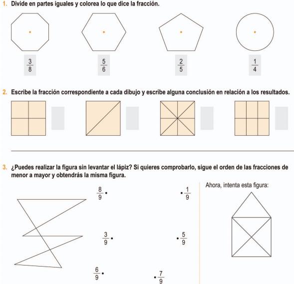 Matematicas Tercero primaria: Fraccionarios
