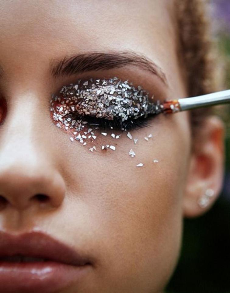 Glittery eye shadow, festive makeup