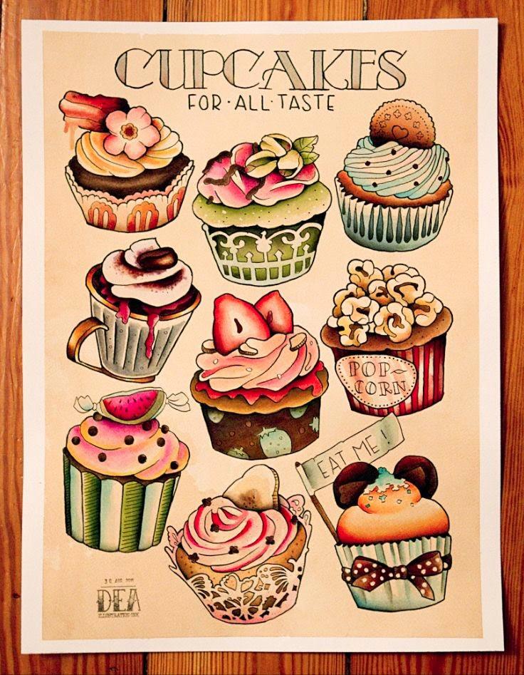 Cake Art Design School : ozgulluk: Cupcake A?irlikli Yeni Dekupaj Resimleri