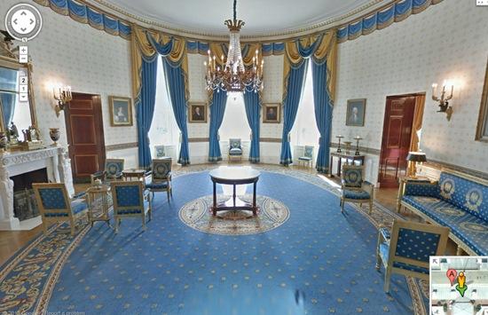 salon bleu de la maison blanche