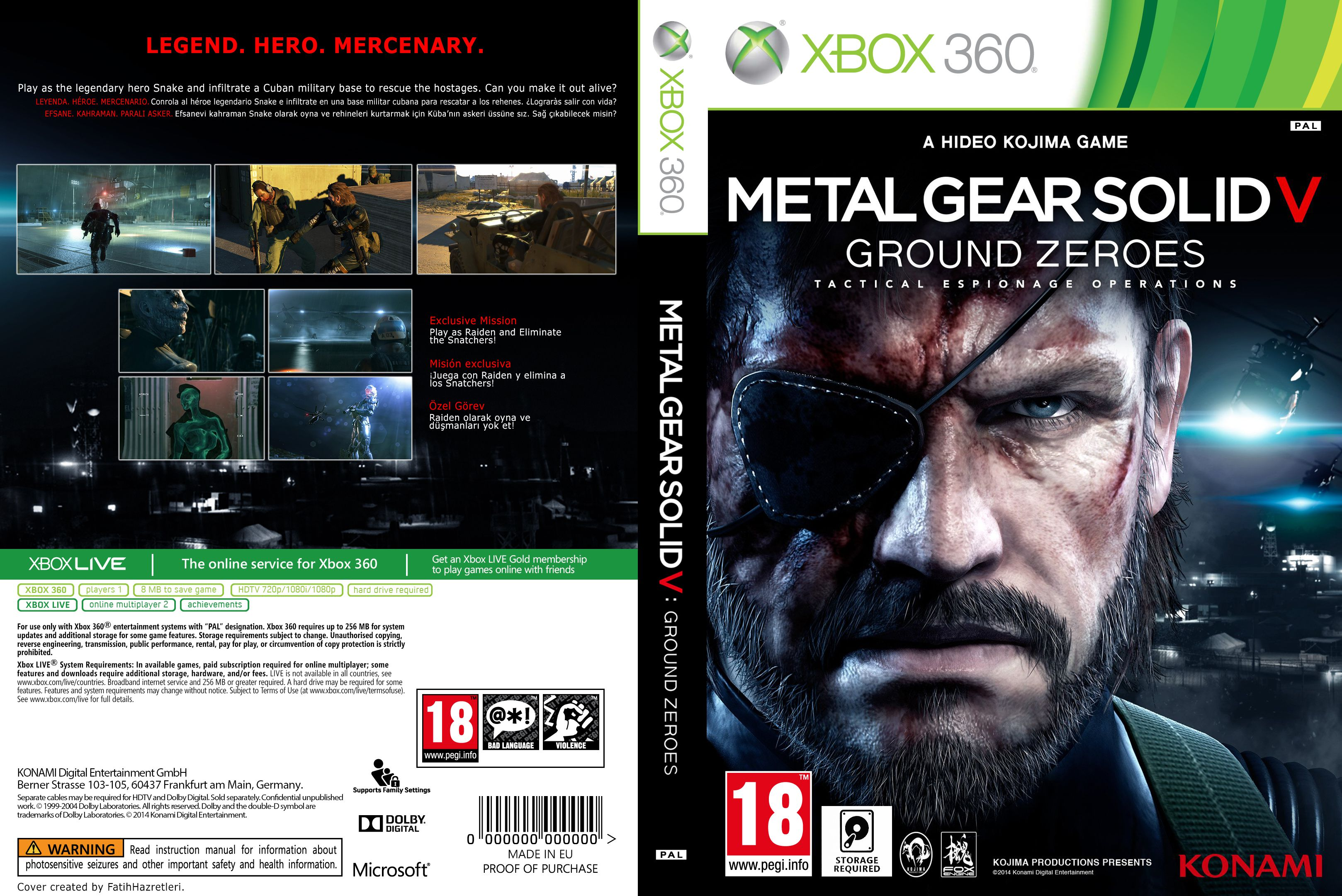 Capa Metal Gear Solid V Ground Zeores Xbox 360