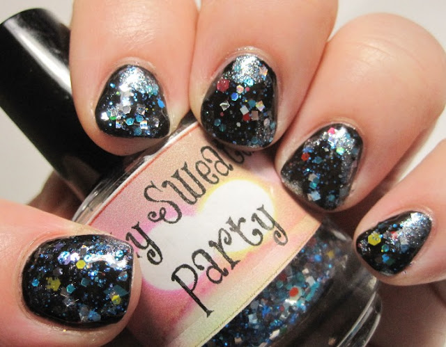 LynBDesigns Ugly Sweater Party over OPI Black Onyx