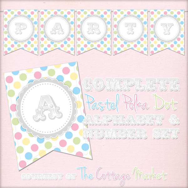 Free Printable - Whole Alphabet Primary Party Polka Dot Banner ...