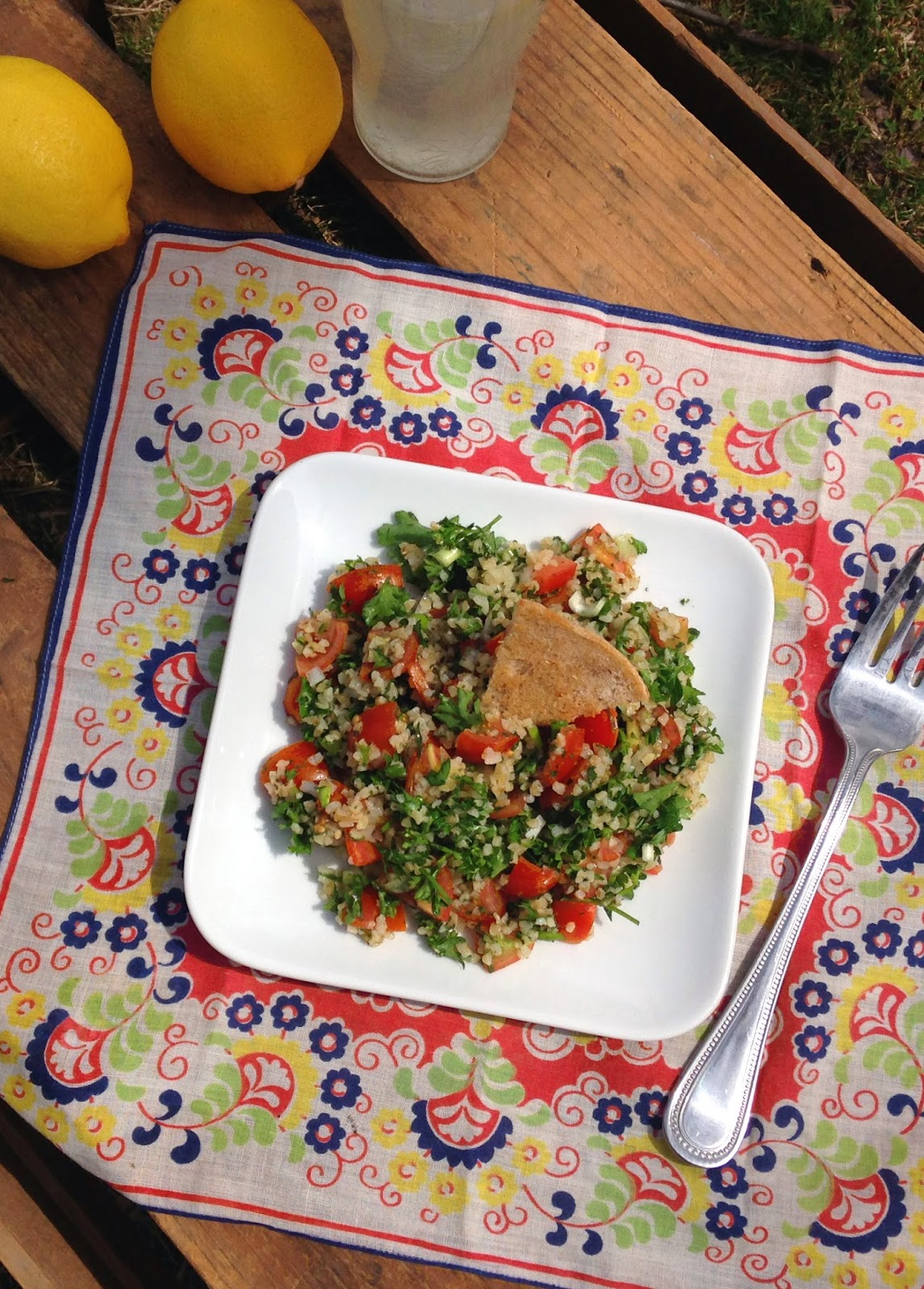 Tabbouleh with Baked Pita Chips Recipe