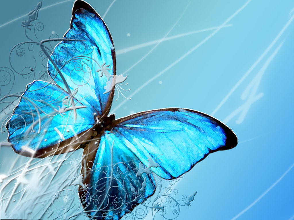 Wallpapers blue butterfly art wallpapers for Pretty wallpaper for walls
