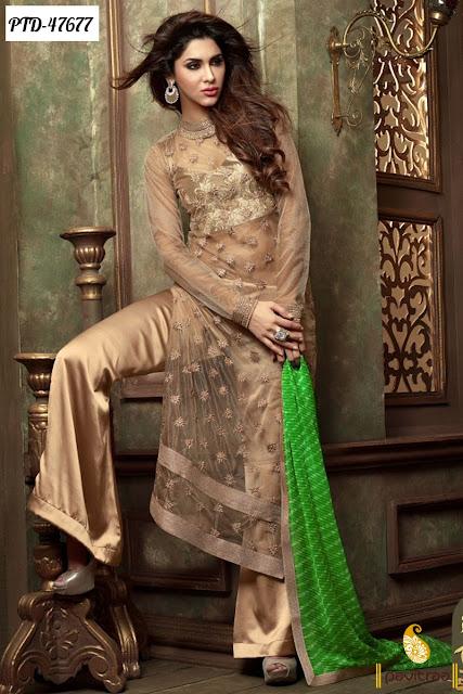 Diwali season special beige chiffon designer anarkali salwar suit online shopping at pavitraa.in