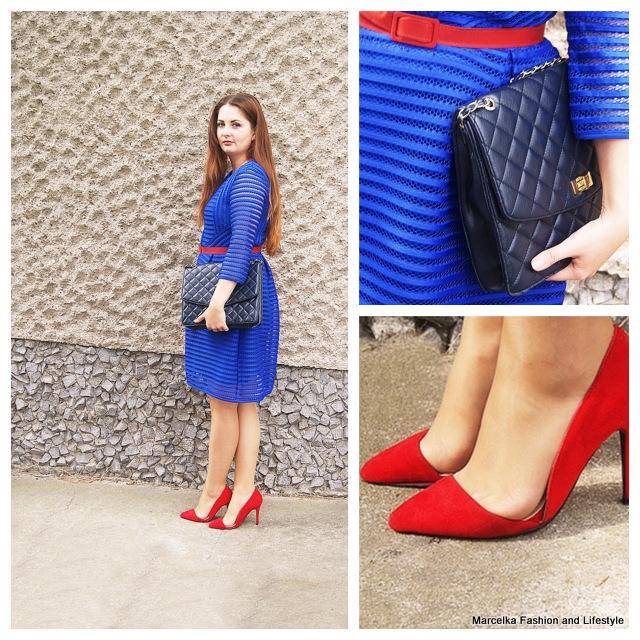 Niebieska Sukienka Z Siatki Plus Czerwone Dodatki Propozycja