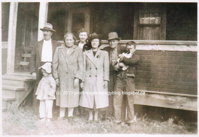 George and Polly Cazakoff with family and neighbors in about 1949