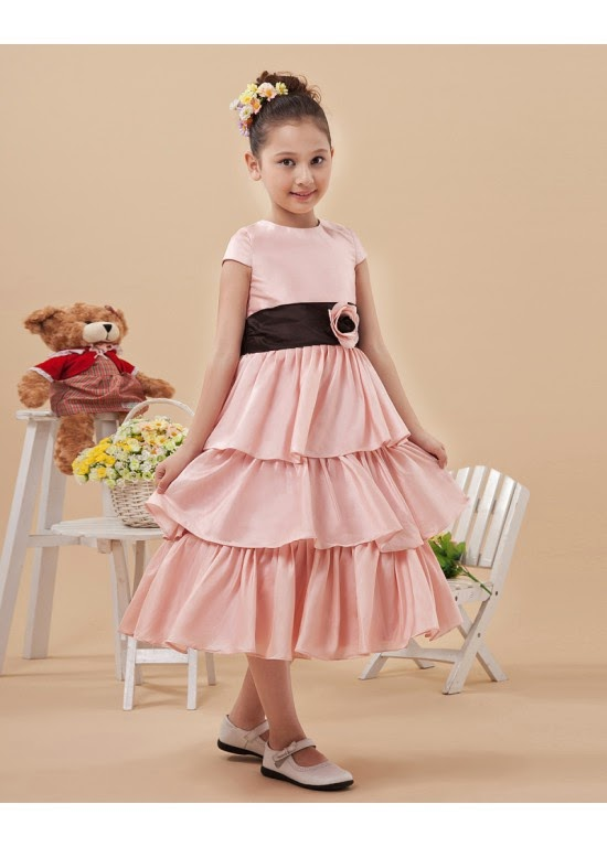 2014 Fashionable High Neck Satin Ball Gown Flower Girl Dresses