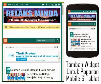 Cara Tambah Widget Untuk Mobile View