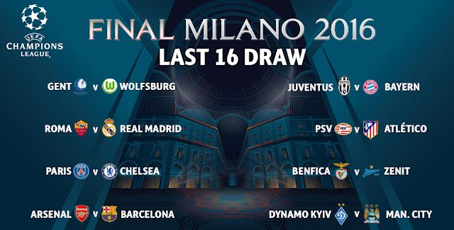 jadual Champions League Pusingan 16 Kalah Mati 2015/2016
