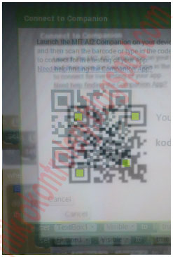 MIT App Inventor 2 Companion: Skanowanie kodu QR.