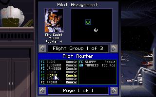 X-Wing Pilot assignment screen