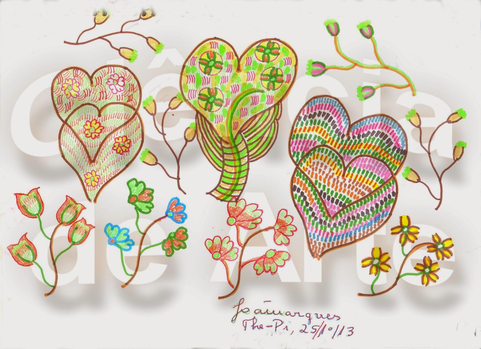 desenho de coração - corações e flores