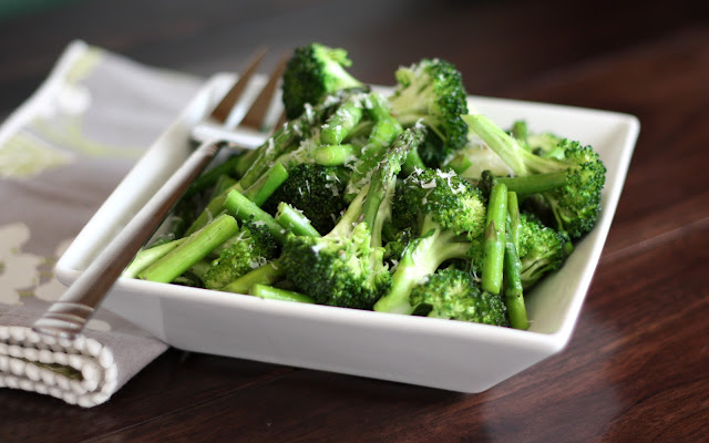 Sauteed Broccoli and Asparagus with Parmesan recipe by Barefeet In The Kitchen